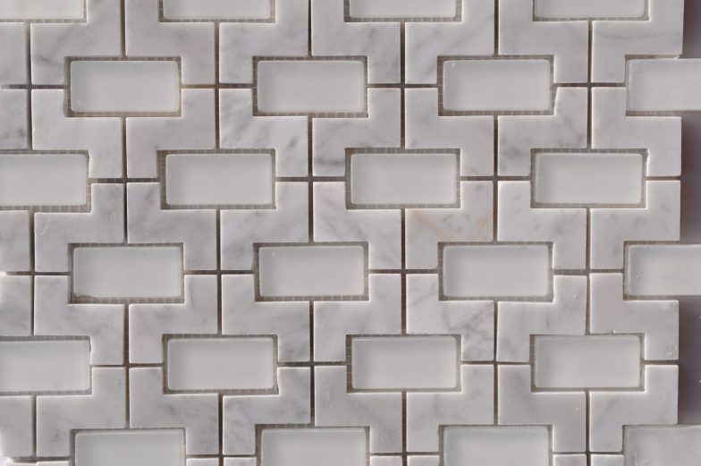 Nicole Pattern Cararra White Marble With Matte White Glass