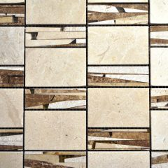 Sandi Pattern Crema Marfil And Light Emperador Marble And Resin 1