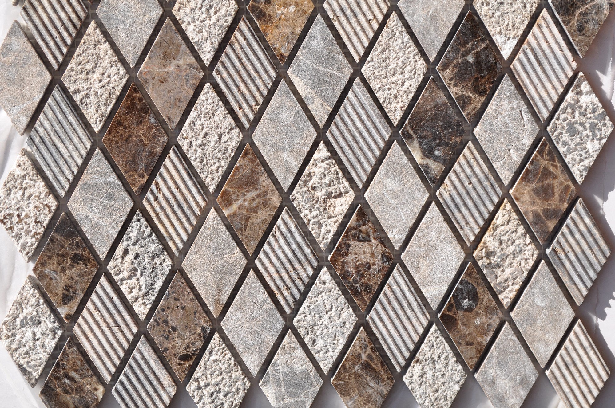 Dark Emperador Harlequin Pattern Mixed Surface Mosaics