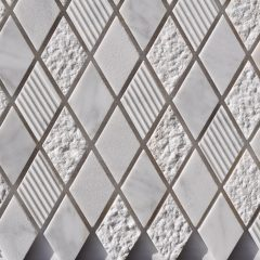 Cararra White Harlequin Pattern  Mixed Surface Mosaics 1