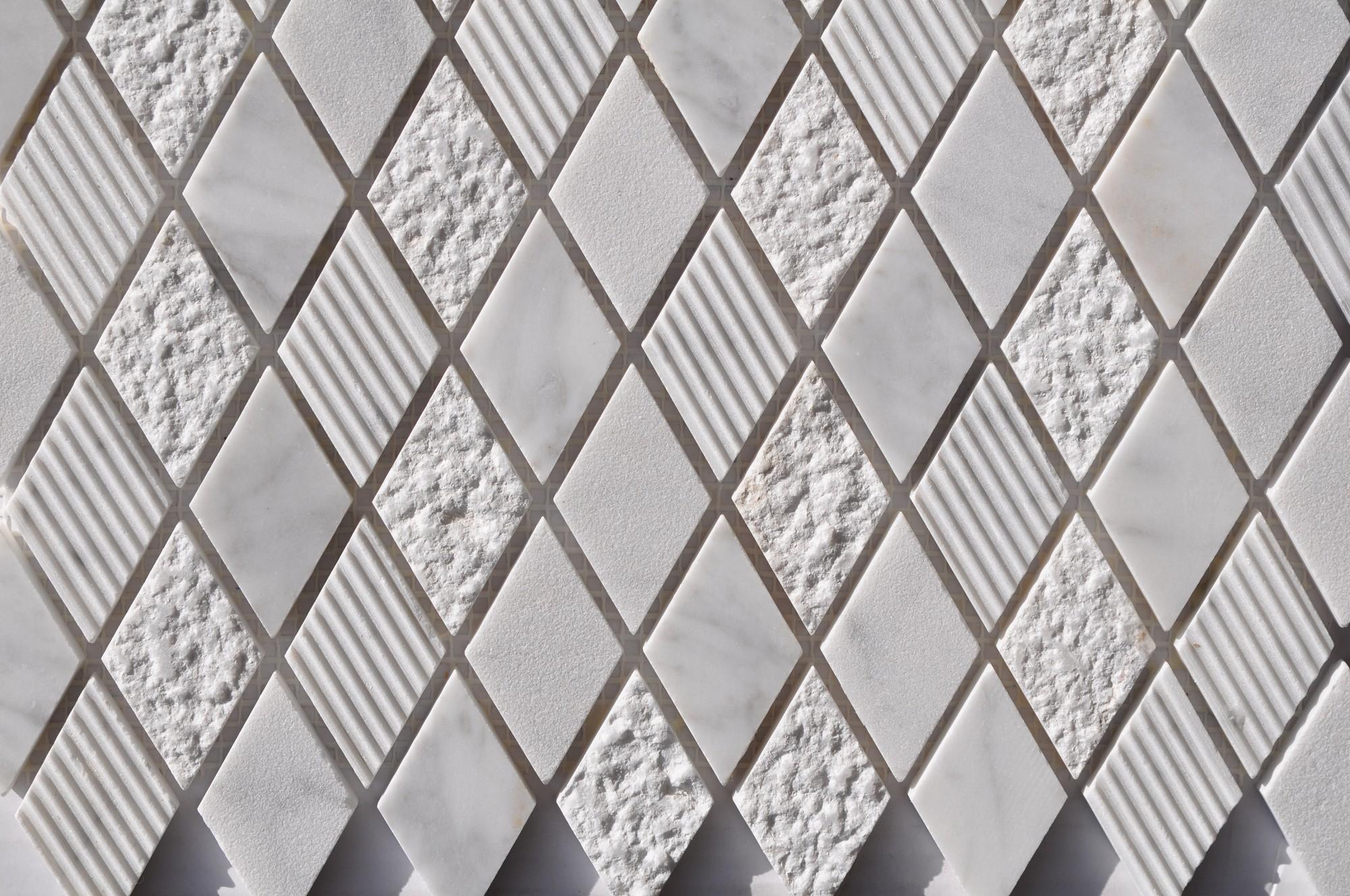 Cararra White Harlequin Pattern  Mixed Surface Mosaics