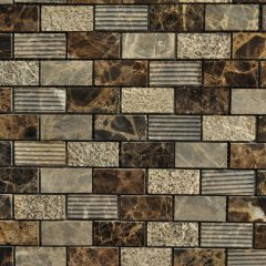 Dark Emperador Marble 1X2 Brick Pattern Mixed Surface