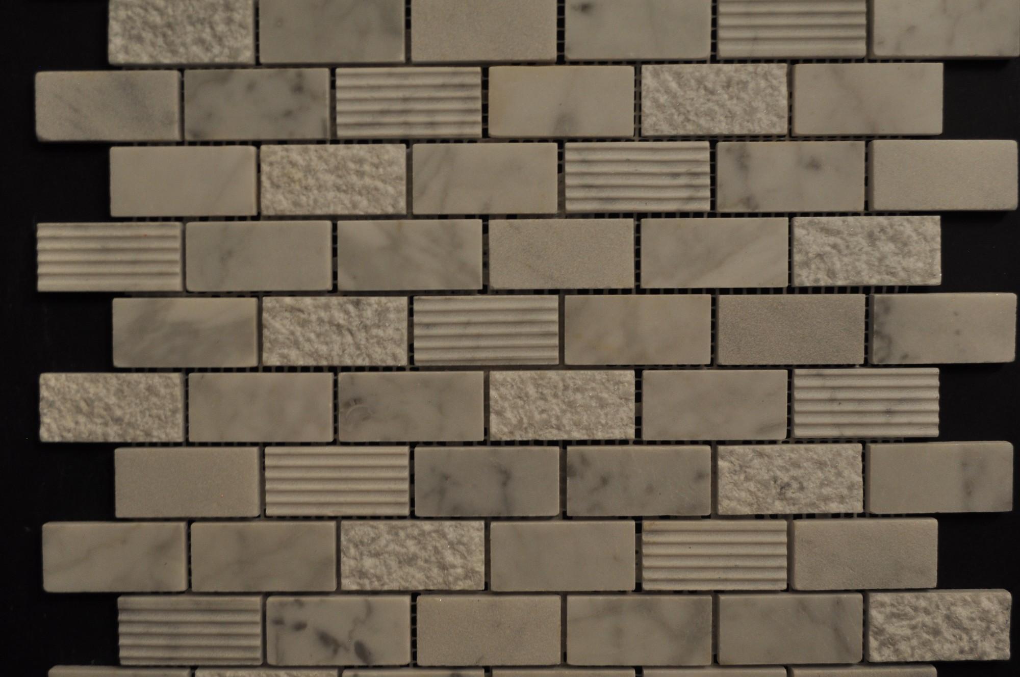Carrara White Marble Brick Pattern Mixed Surfaces