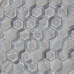 Fusion Glass Ivory White Hex Pattern 01F 1