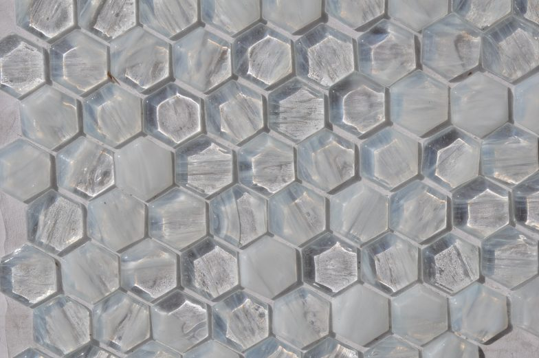 Fusion Glass Ivory White Hex Pattern 01F