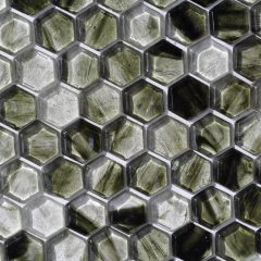 Fusion Glass Jade Green Hex Pattern 03F 1