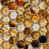 Fusion Glass Autumn Brown Hex Pattern 07F