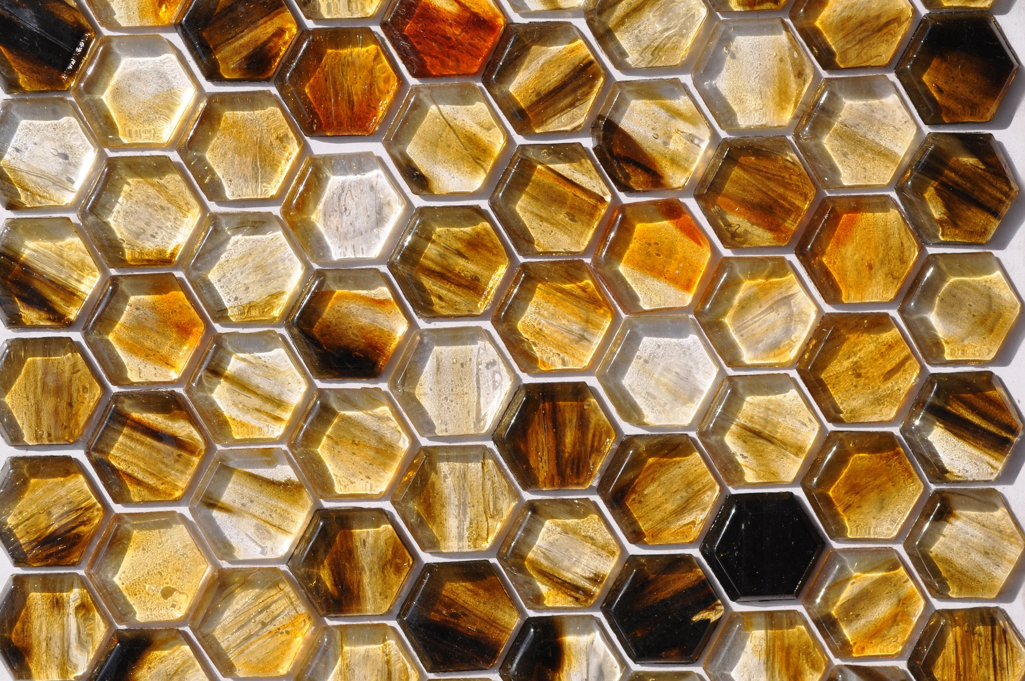 Fusion Glass Autumn Brown Hex Pattern 07f Glass Tile Home