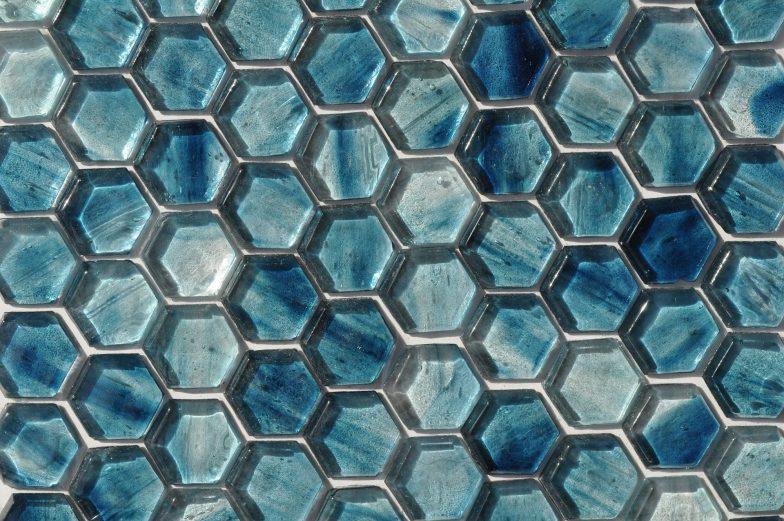 Fusion Glass Sky Blue Hex Pattern 09F