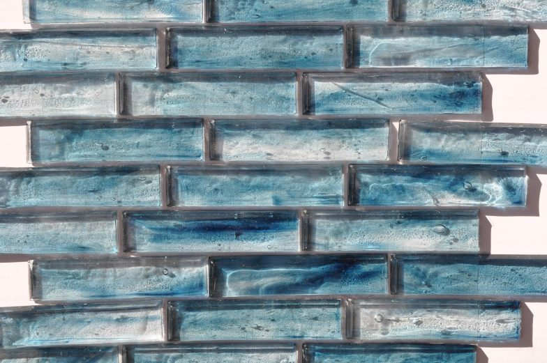 Fusion Glass Sky Blue Linear Strips 09S