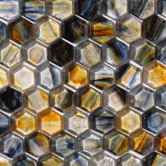 Fusion Glass Gold Blue Grey Hex Pattern 10F 1