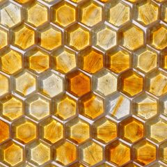 Fusion Glass Honey Gold Hex Pattern 04 F 1