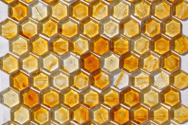 Fusion Glass Honey Gold Hex Pattern 04 F