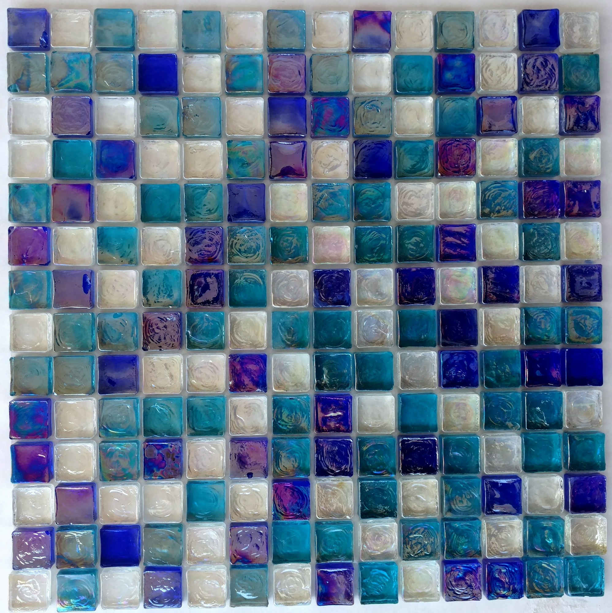Reflections Blend Aqua Blues And White 1X1 | Glass Tile Home