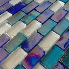 Reflections Blend Aqua Blue ( Two Blue Colors) And Clear Glass 1X2 1