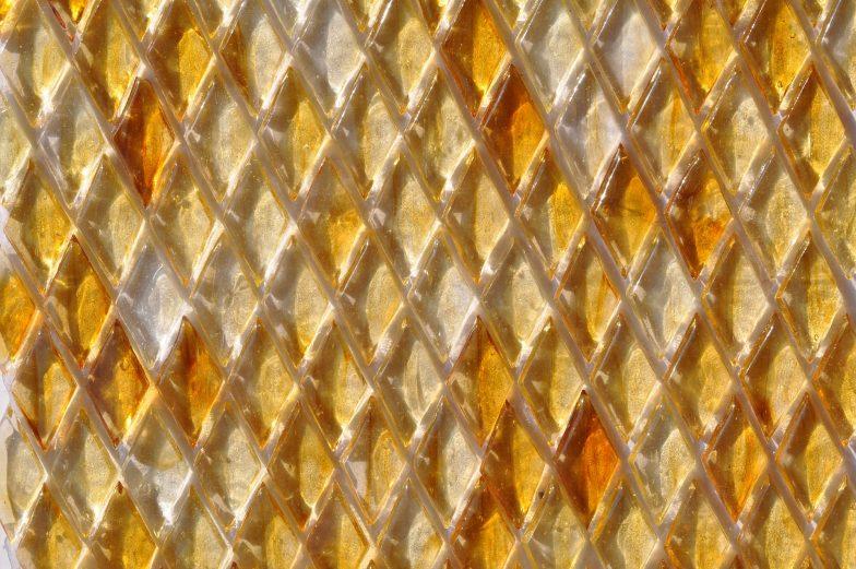 Fusion Glass Honey Gold Harlequin  Pattern 04 L
