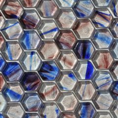 Fusion Glass Blue Lavender And White Hex Pattern  08S 1