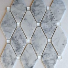 Abigail Pattern Cararra White Marble With White Glass Dot 1