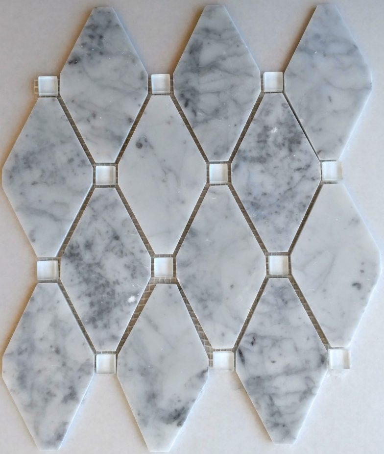 Abigail Pattern Cararra White Marble With White Glass Dot