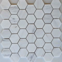 Cararra White Marble 2″ Hex Pattern 1