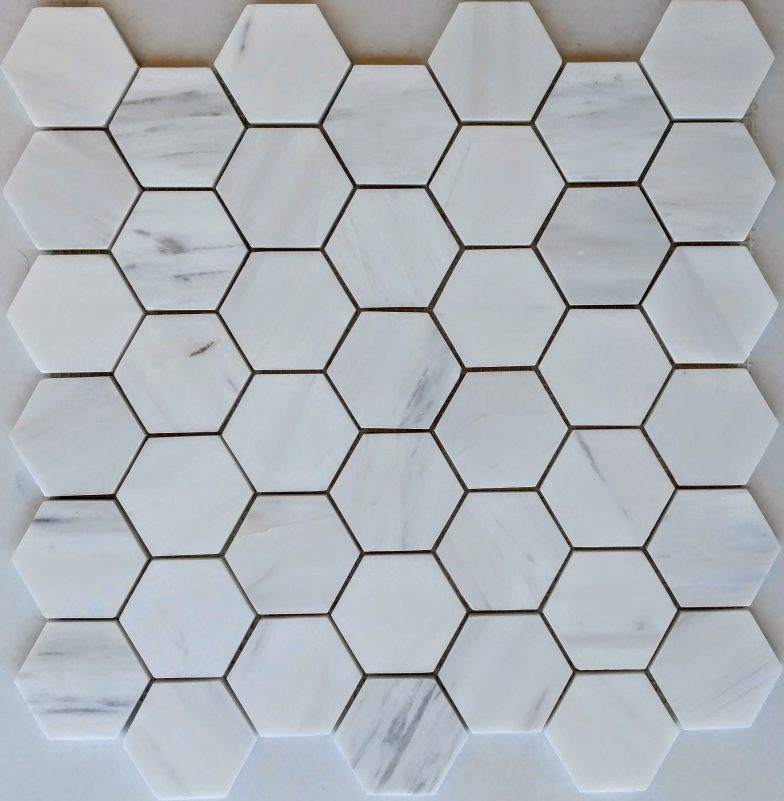 """Cararra White Marble 2"""" Hex Pattern"""
