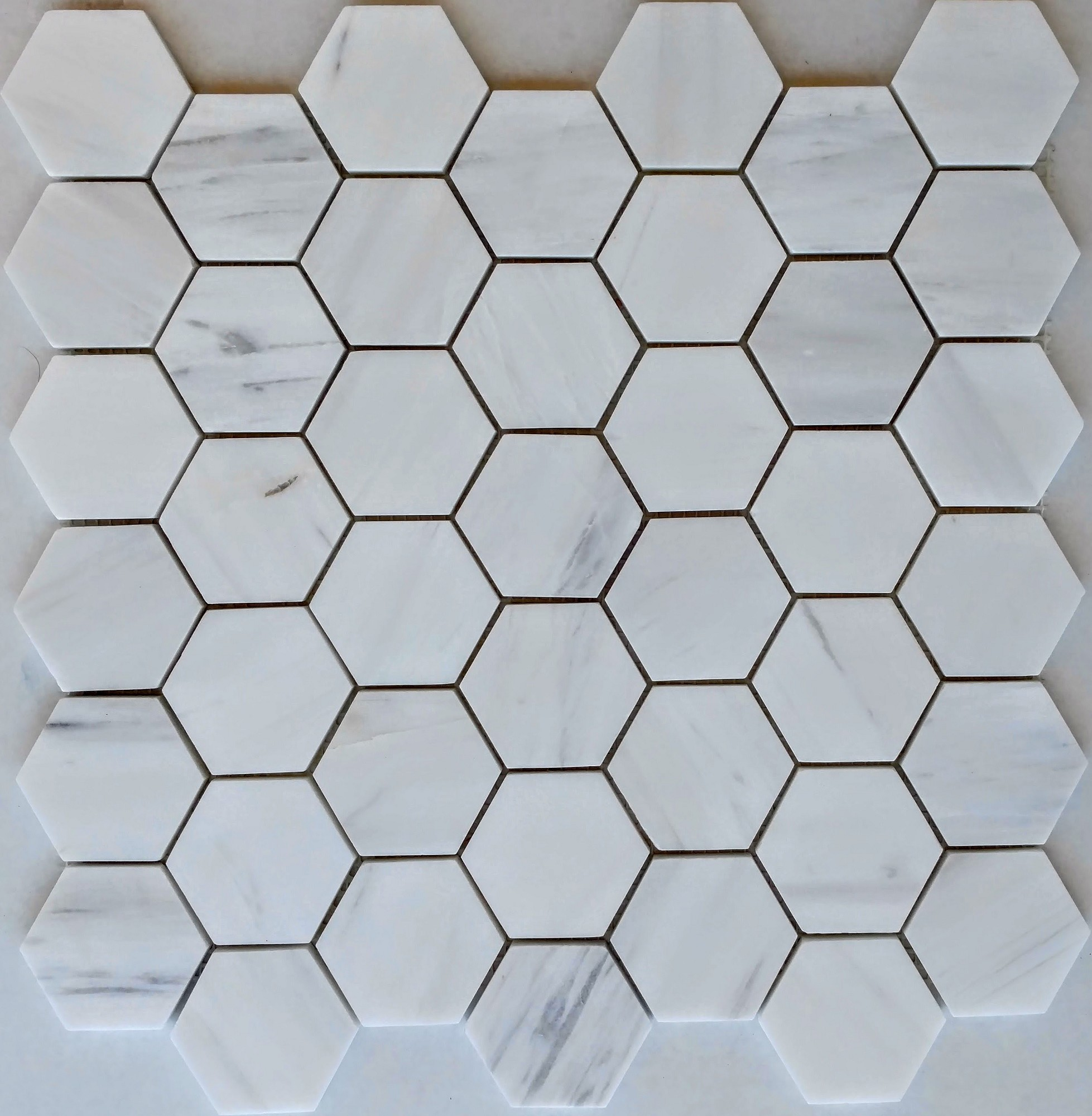 "Cararra White Marble 2"" Hex Pattern"