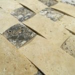 Lava Onyx Travertine 3D Wavy Basketweave Pattern