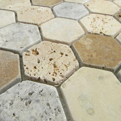Madison Hexagon Pattern In Multi Color Tumbled Travertine 1