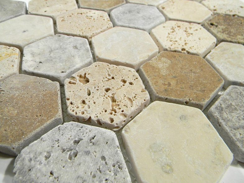 Madison Hexagon Pattern In Multi Color Tumbled Travertine