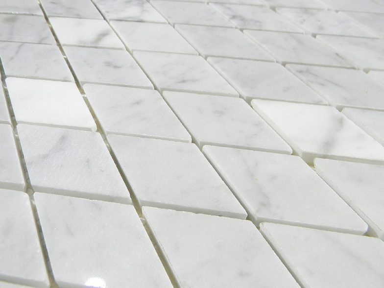 White Cararra Marble 1X2 Harlequin Pattern