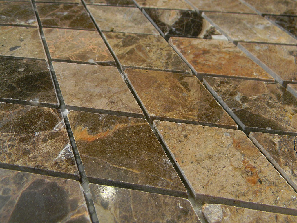Dark Emperador Marble Polished Harlequin Pattern Glass