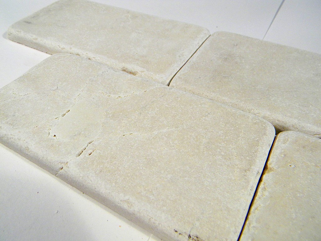 Crema marfil tumbled 3x6 marble tile brick pattern glass tile home for Tumbled glass tile