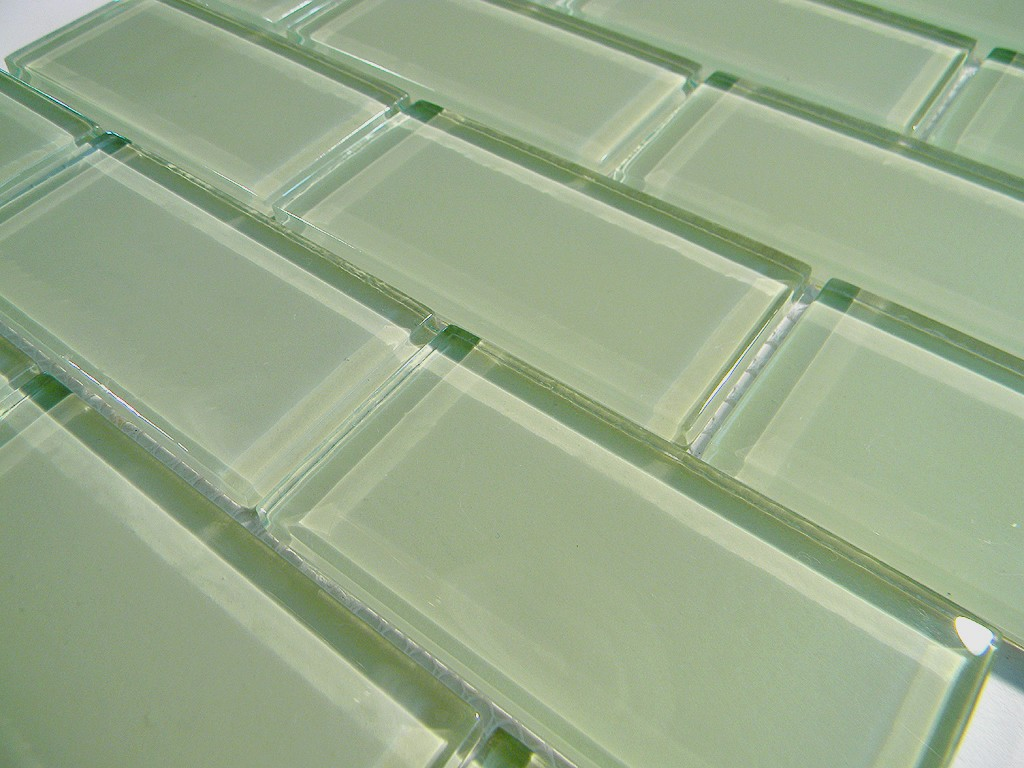 Mint Green Crystal Glass Tile 2x4 Subway Glass Tile Home