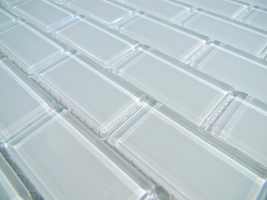Off White Subway Tile Crystal Glass Tile 1x2 Arctic Ice Polish Brick Glass