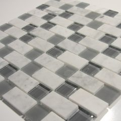 Carrara White And Grey 1 X 2 X1 Glass And Stone  Blend 1