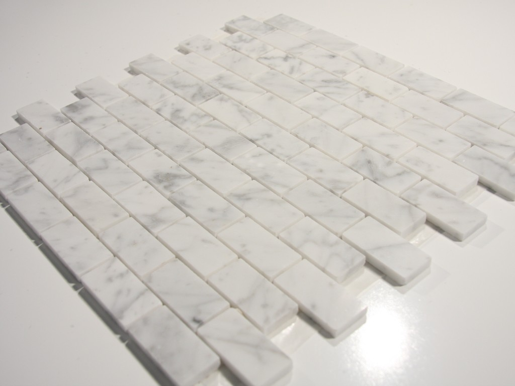 Carrara White 1 X 2 Polished Stone Brick Tile