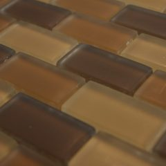 Crystal Glass Brown Blend 1X2X 8Mm Matte Mosaic Glass Tile 1