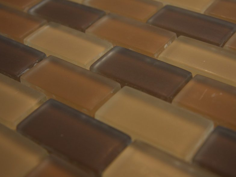 Crystal Glass Brown Blend 1X2X 8Mm Matte Mosaic Glass Tile