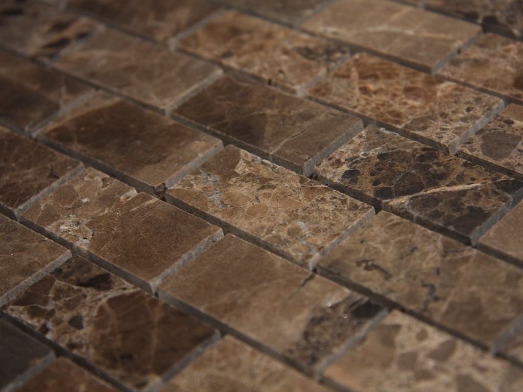 Spanish Dark Emperador Marble 1x2 Polish Brick Pattern