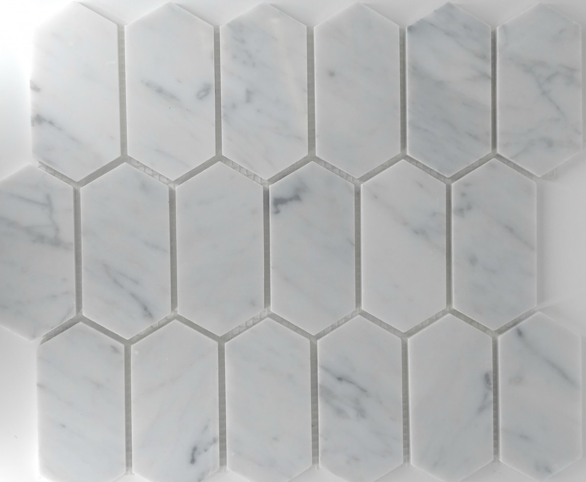 Picket Pattern Carrara Glass Tile Home