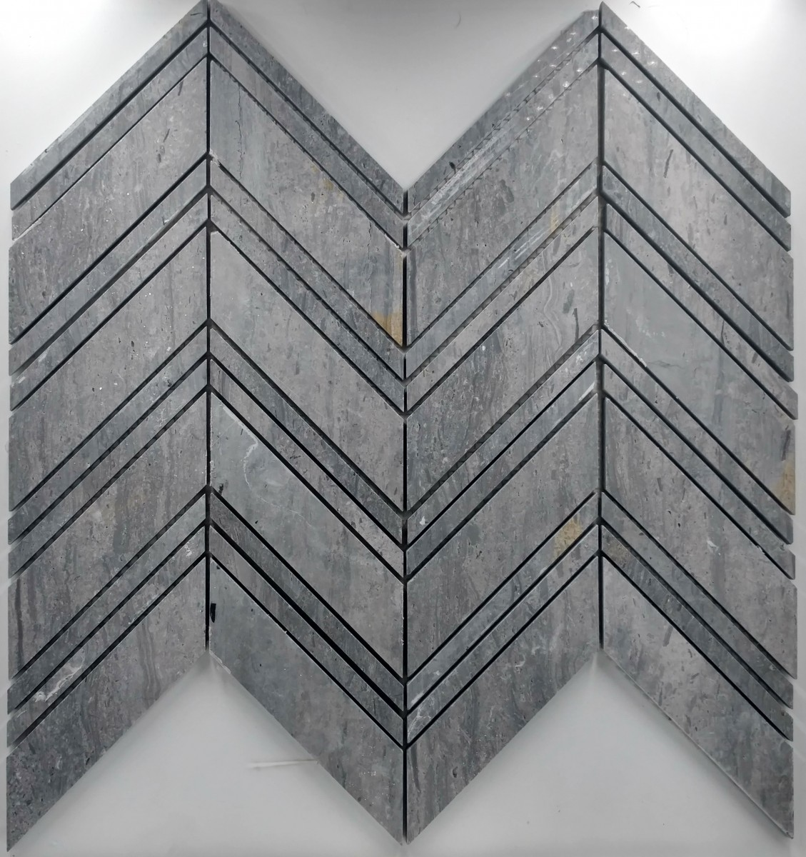 Large Chevron Pattern Blue Vein Marble Glass Tile Home