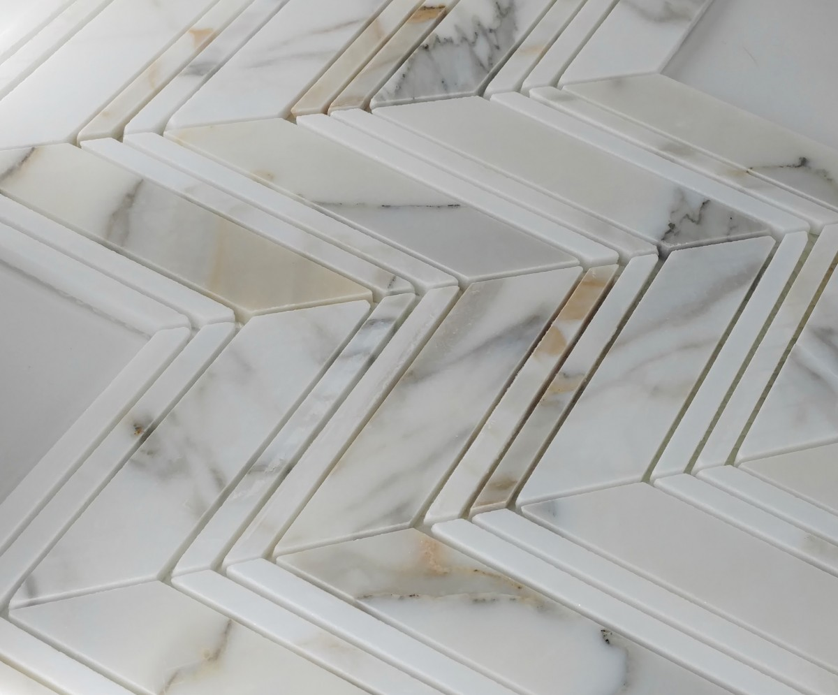 Large Chevron Pattern Calacatta Collection Glass Tile Home