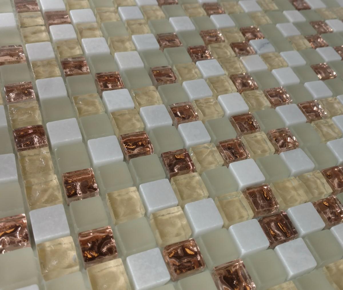 mini mosaic 5 8 white gold glass tile home. Black Bedroom Furniture Sets. Home Design Ideas