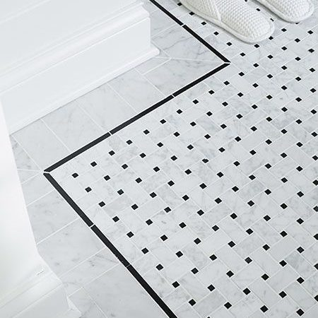 Cararra White Marble Basketweave Patterns