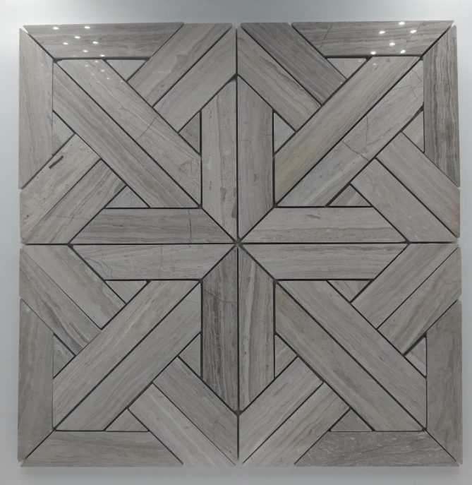 Aztec Pattern Wood Vein Marble Wall/ Floor Tile Collection