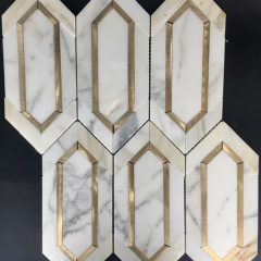 Chateau Elongated Hex with Metallic Inserts Marble Collection