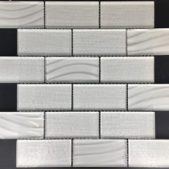 Nouveau Bas-Relief Cut 2 X 4 with Stratos and Cut Relief Subway Glass Tile Collection
